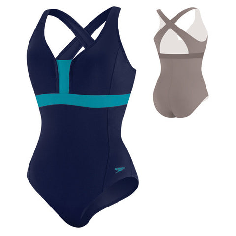 Speedo ColorBlocked Crossback Indigo Blue 12