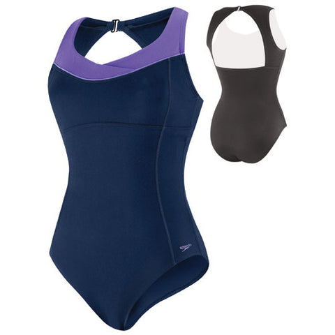 Speedo High Neck Piped Poly 1pc Nautical Navy 14