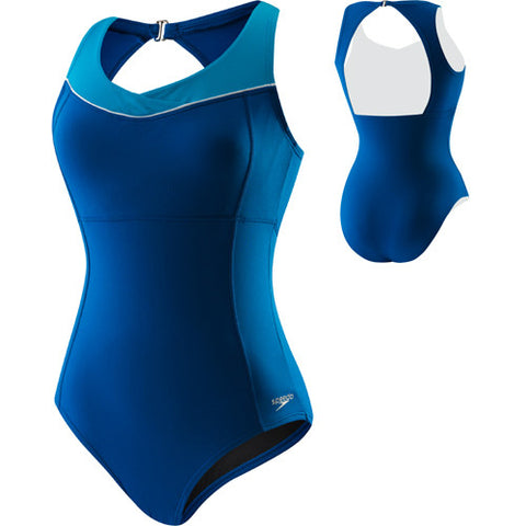 Speedo High Neck Piped Poly 1pc Dusk 10