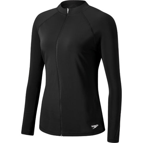 Speedo L/S Zip Front Rashguard Black MD