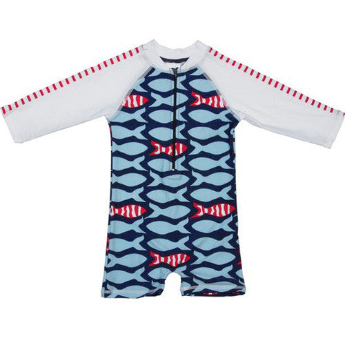 SnapperRock Stripe Fish L/S Sunsuit 12-24 months