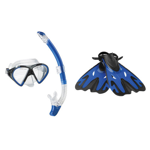 Speedo Hyperfluid Mask/Snorkel/Fin Set Blue SM