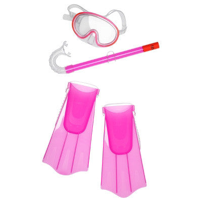 Speedo Kids Mask Snorkel Fin Set Pink Frost SM/MD