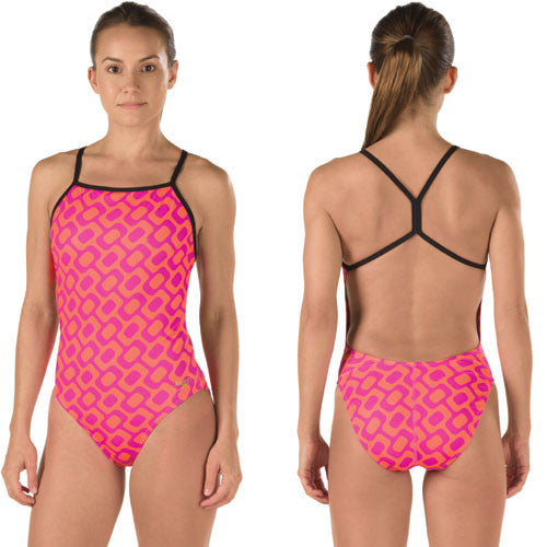 Speedo Poly Printed One Back Pink 34
