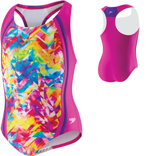 Speedo TyeDye Sport Splice Pop Blue 06 Girls