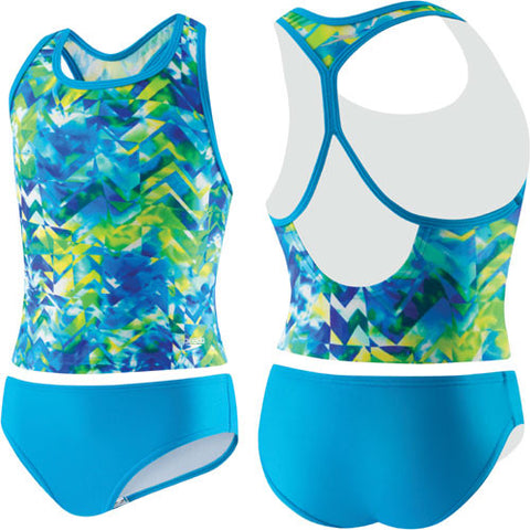 Speedo TyeDye 2pc Rashkini Pop Blue 6X Girls