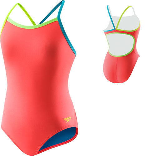 Speedo Solid Lycra Propel Back Hot Coral 32