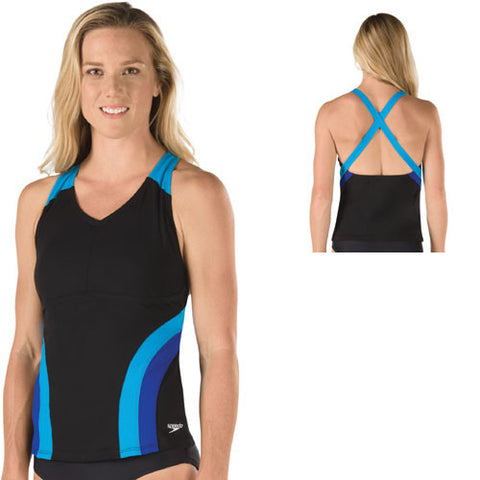 Speedo Poly Flow Active Tankini Top Atlantic Blue 08