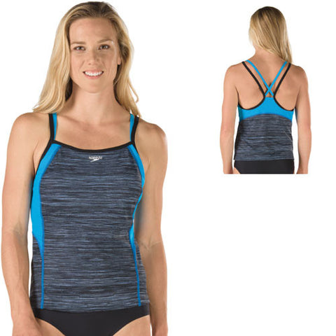 Speedo Textured Dbl Strap Tankini Black 08