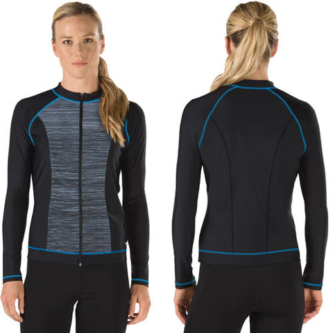 Speedo Full Zip Textured Rashguard New Navy LG