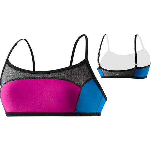 Speedo Heather Color Blocked Top Black MD