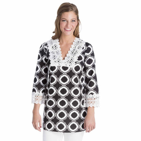 MudPie Bliss Tunic Black Honeycomb LG
