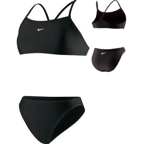 Nike Solid Athletic Back 2pc Swimsuit Black 8