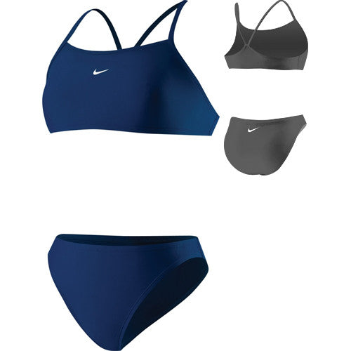 Nike Solid Athletic Back 2pc Swimsuit Navy 10