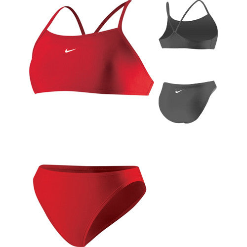 Nike Solid Athletic Back 2pc Swimsuit Red 10