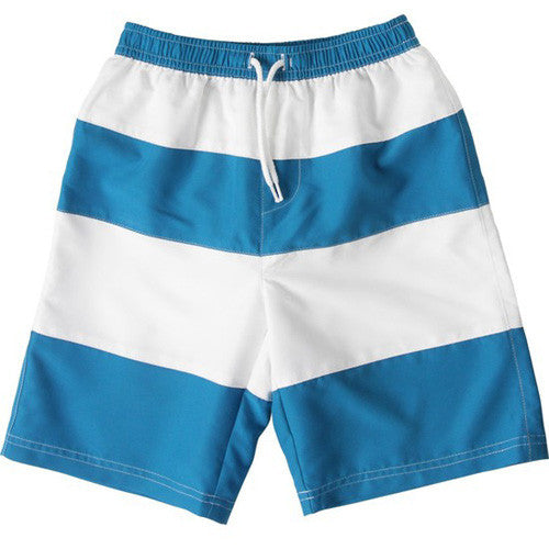 SnapperRock Sea Blue Stripe Boys Boardie 10