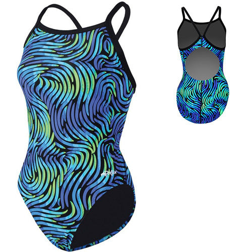 Dolfin Winner Swimsuit Swirl Blue/Green 32