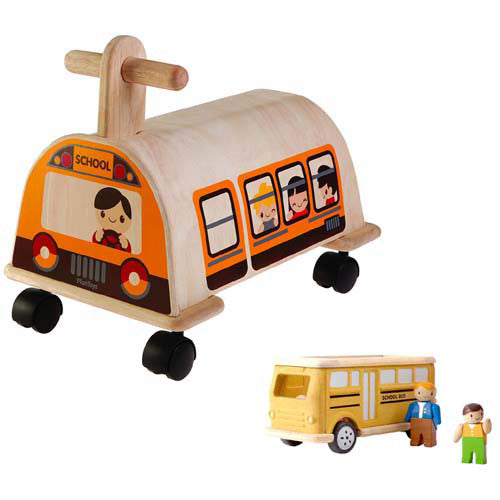 Plan Toys School Bus Ride On  Value Pack
