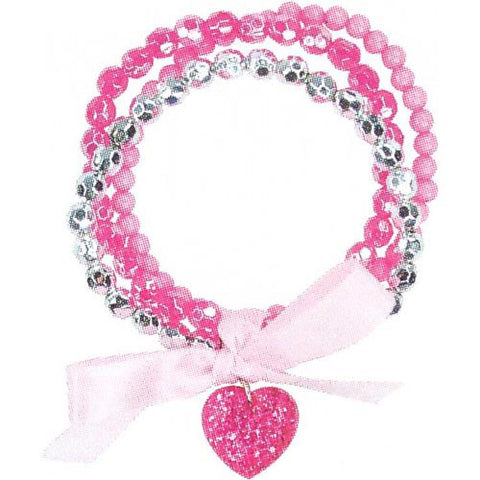Pink Poppy Sparkle Heart Ribbon Bracelet