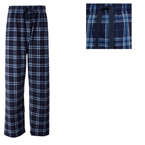 Boxercraft Plaid Flannel Pants Navy/Columbia Blue Adult Small