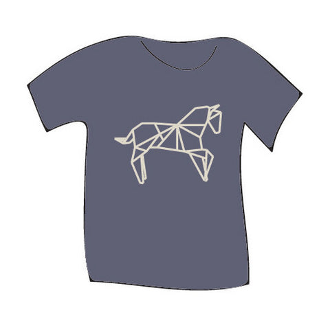 Teres Kids Tee Oragami Horse Blue Bell 3T