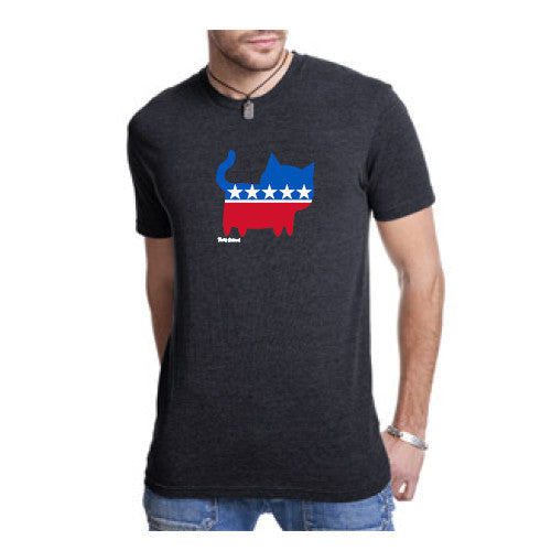 Pass Tee Triblend Political Cat Black Small