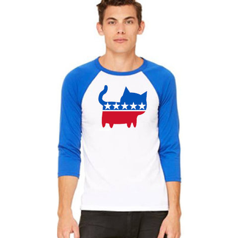 Pass Baseball Tee 3/4 Political Cat White/Royal Large