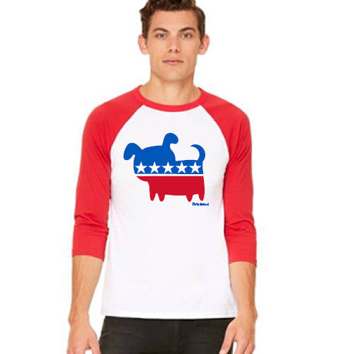 Pass Baseball Tee 3/4 Political Dog White/Red Medium