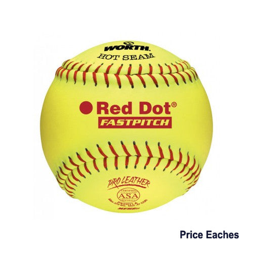 Worth Softball 12In Yellow Red Dot Nfhs