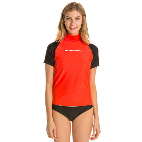 AquaSphere Loose S/S Women's Rashguard Red/Black SM