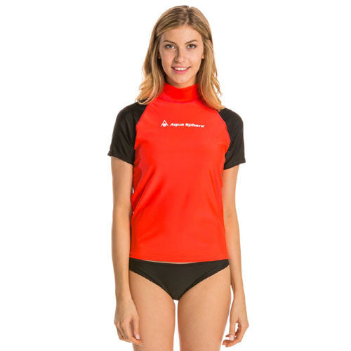 AquaSphere Loose S/S Women's Rashguard Red/Black MD