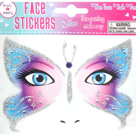 Face Stickers - Purple Butterfly
