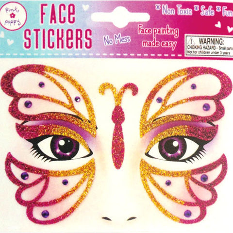 Face Stickers - Pink Butterfly