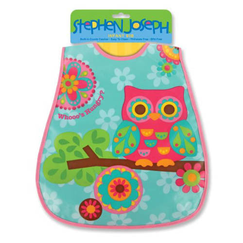 Stephen Joseph Wipeable Bibs Owl