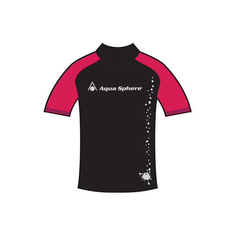 AquaSphere SS Girls Rashguard Black/Red 6 youth
