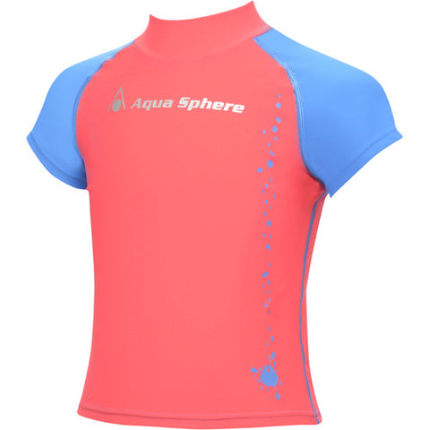 AquaSphere SS Girls Rashguard Red/Blue 8 youth