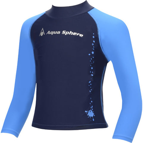 AquaSphere LS Boys Rashguard Blue/Black 10 youth