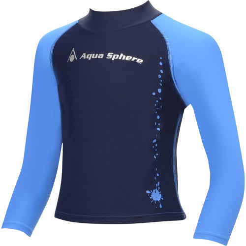 AquaSphere LS Boys Rashguard Blue/Black 6 youth