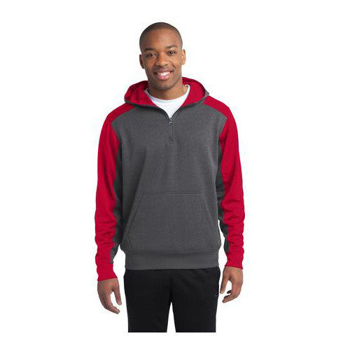 Sport-Tek ClrBlk Tech Fleece 1/4 Zip Hoo Heather Grey/Red LG