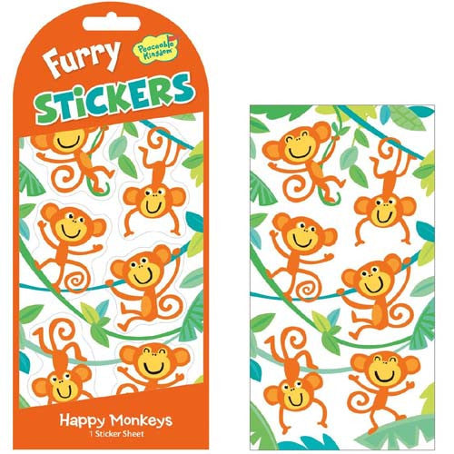 Peaceable Orange Monkey's Furry Stickers