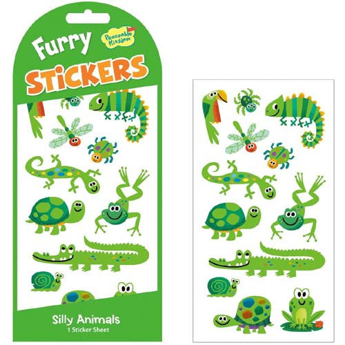 Peaceable Green Animals Furry Stickers