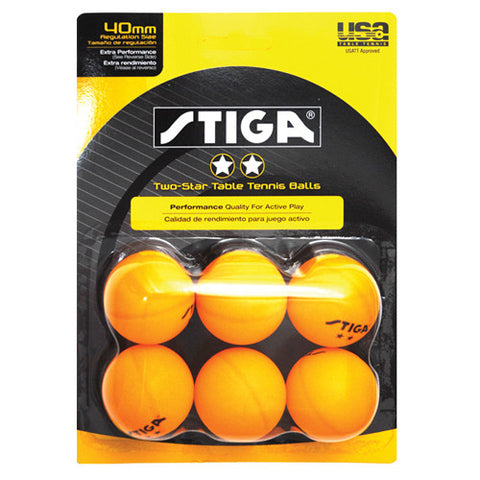 Stiga Table Tennis Balls 6PK 2 Star ORG