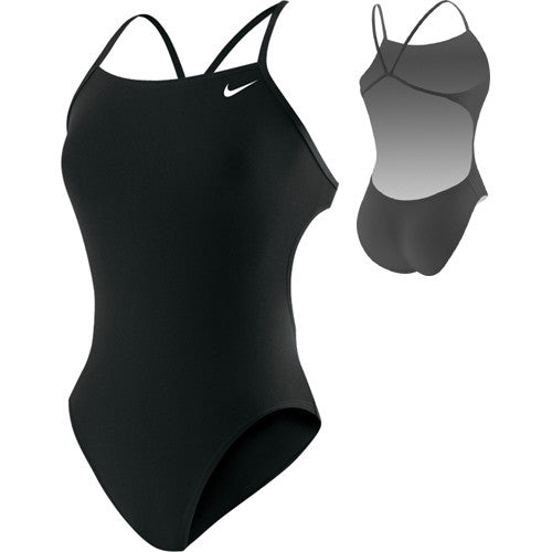 Nike Solid Cut Out Tank Swimsuit Black 36