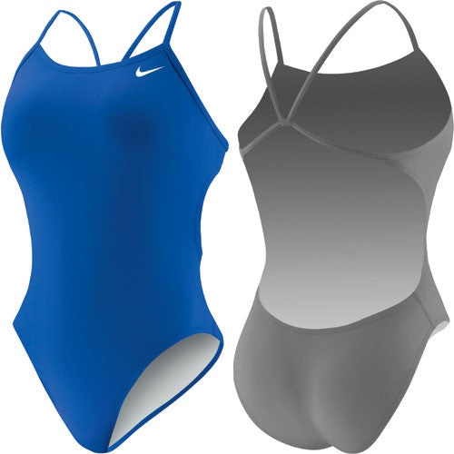 Nike Solid Cut Out Tank Swimsuit Royal 30