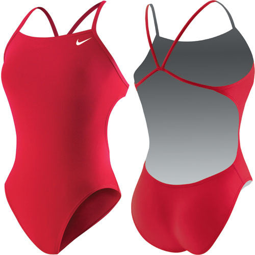Nike Solid Cut Out Tank Swimsuit Red 34
