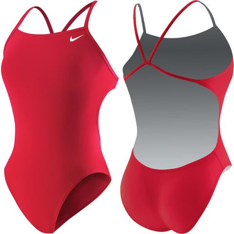 Nike Solid Cut Out Tank Swimsuit Red 32