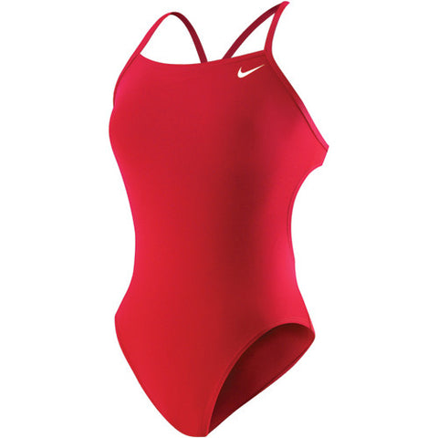 Nike Solid Cut Out Tank Swimsuit Red 30