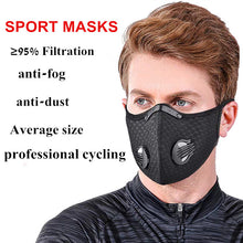 Load image into Gallery viewer, Reusable Dust Face Mask Training Masks with Activated Carbon Filter