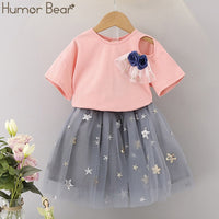 Humor Bear Girls Clothes Sets Children Clothing