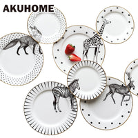 Inch Animal Combined Plates Set Ceramic Plates Fox